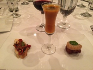 Appetizer - bread with some stuff on it, butternut squash soup and scallop