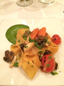 Pappardelle with a yummy green puree and some veggies
