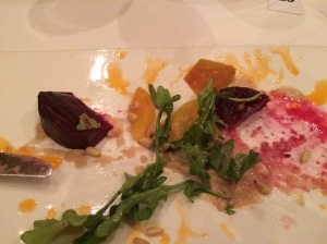 Beet salad - there was some kind of puree and a LOT of vinegar